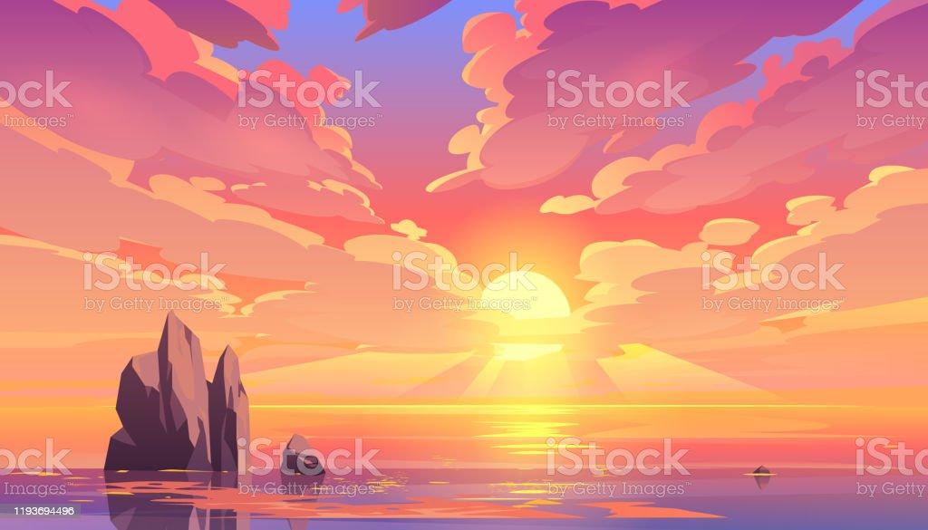 Sunset or sunrise in ocean, nature landscape - Grafika wektorowa royalty-free (Abstrakcja)