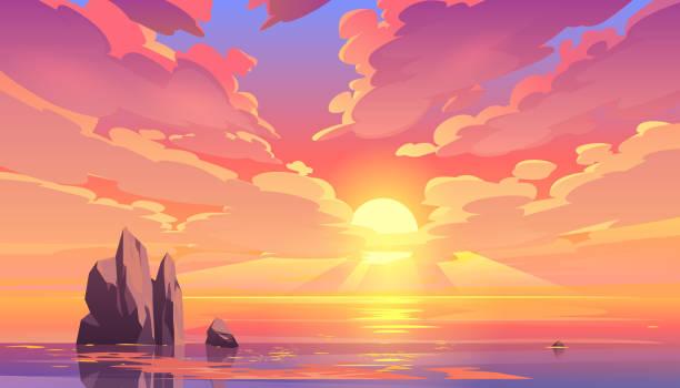 zachód słońca lub wschód słońca w oceanie, krajobraz przyrody - zachód słońca stock illustrations