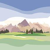 Wildlife decorative landscape with mountains.
