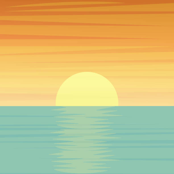 sunset or sunrise over the sea or ocean - zachód słońca stock illustrations