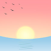 Sunset or sunrise over the sea or ocean