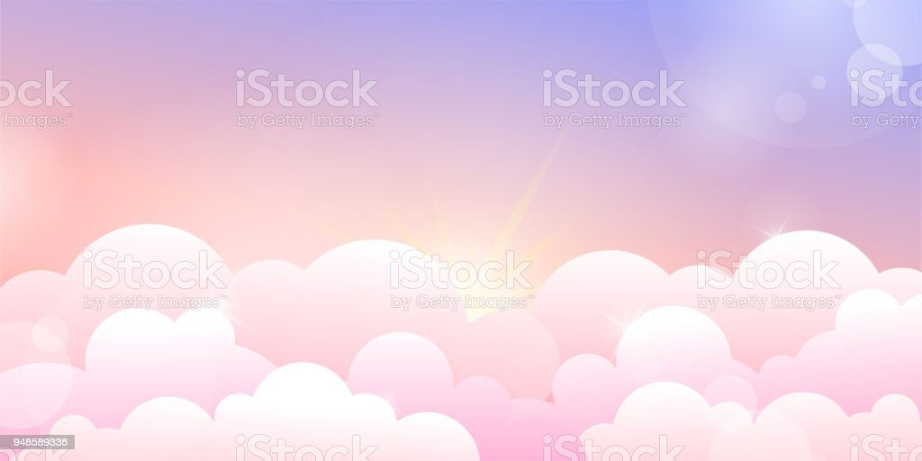 Sunset or sunrise sky and rose clouds vector art illustration