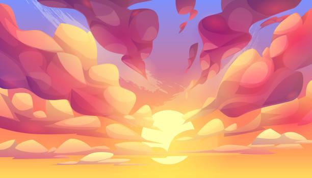bildbanksillustrationer, clip art samt tecknat material och ikoner med solnedgång eller soluppgång, himmel med rosa moln - pink sunrise