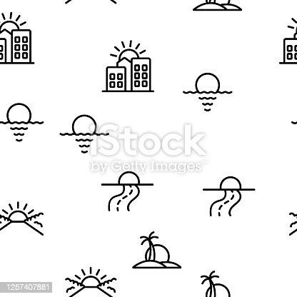 Sunset Or Sunrise Vector Seamless Pattern Thin Line Illustration