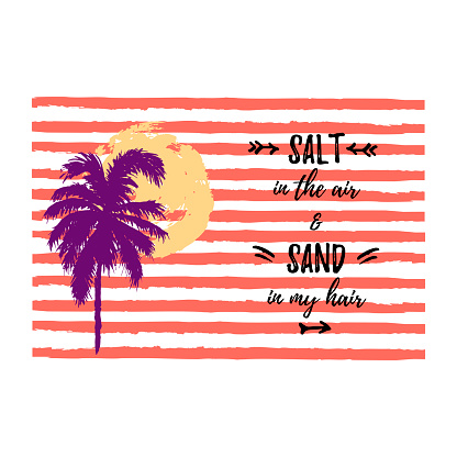 Sunset or sunrise with hand drawn palm tree and stripes