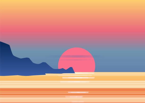 zachód słońca osean, morze, krajobraz z górami i słońcem, wieczór. panorama gór, zachód słońca, zmierzch, wektor, odosobniony - horyzont stock illustrations