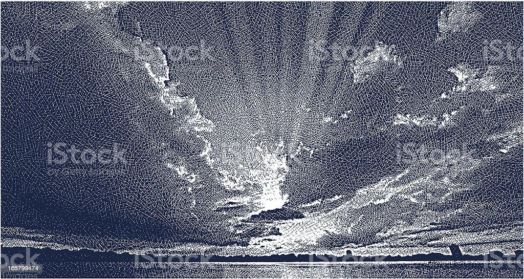 Sunset Over A Metro Lake vector art illustration