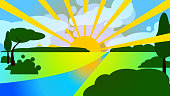 Sunset / dawn over a summer / spring green meadow - Modern vector digital landscape.