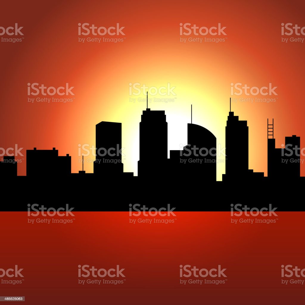 Sunset over City Skyscrappers. Vector Silhouette royalty-free stock vector art