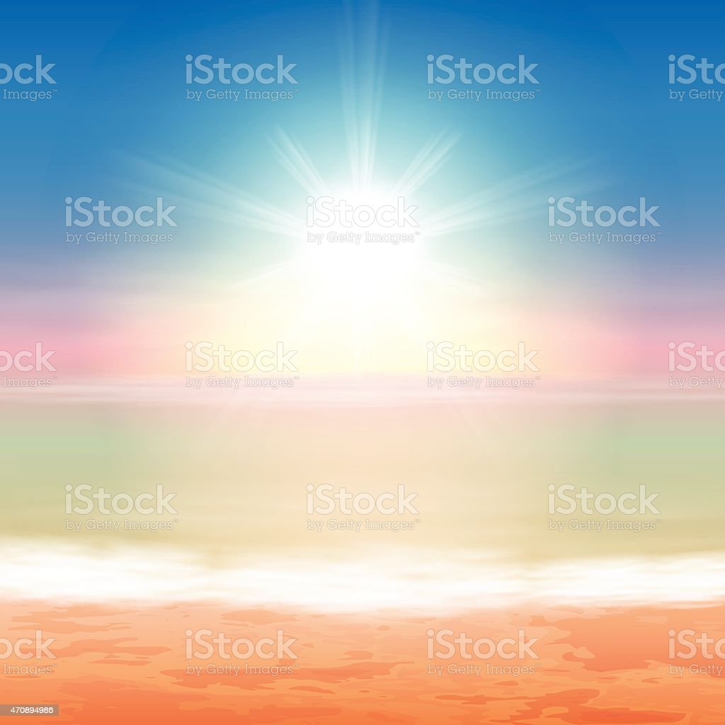 Sunset over the each and seaside vector art illustration