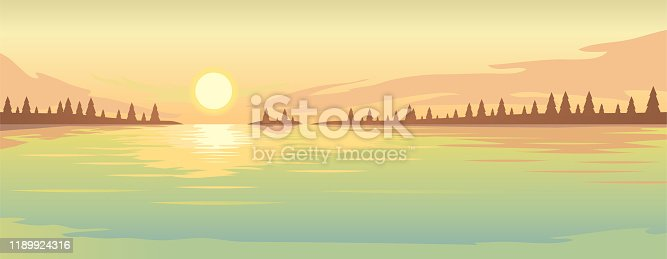 Summer rural landscape. Sunset over the lake and fir forest on the coast.