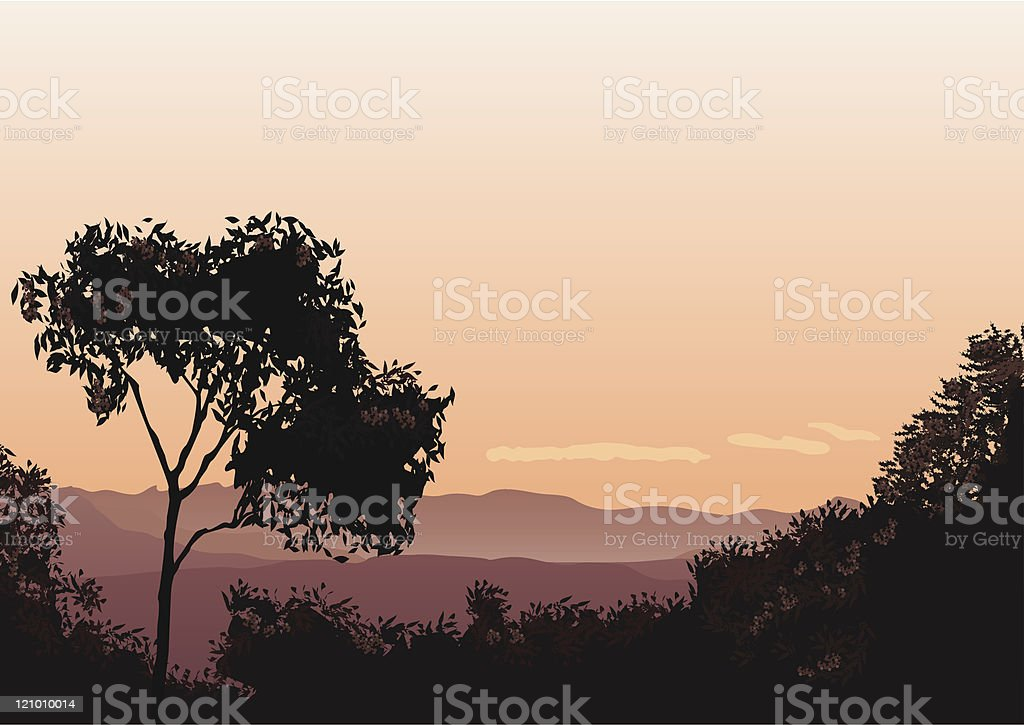 Sunset over The Lost World vector art illustration