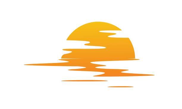 zachód słońca nad wodą. słońce odbijane w morzu - zachód słońca stock illustrations