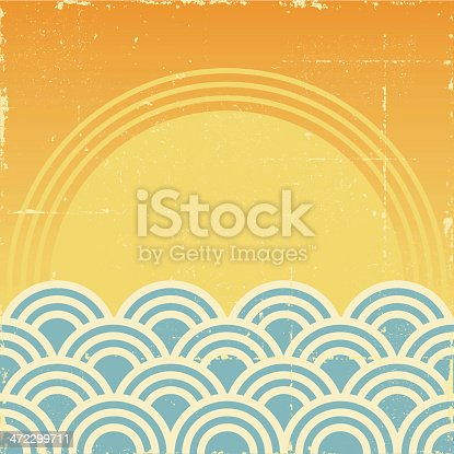 Sunset Over Waves Grunge