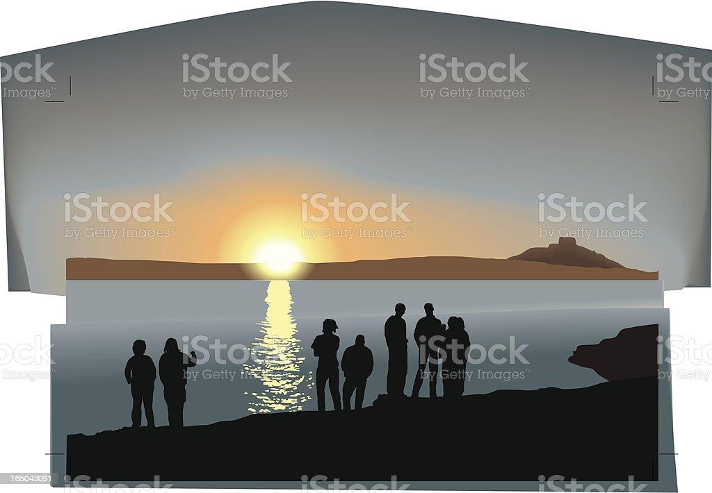 Sunset party vector art illustration