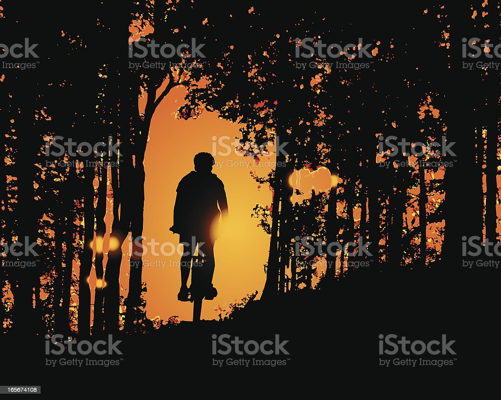 Sunset Ride in the Woods royalty-free sunset ride in the woods stock vector art & more images of activity