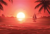 Tranquil tropical scene of a sailboat sailing during the sunset. EPS 10 (image contains transparencies), grouped and all labeled in layers.