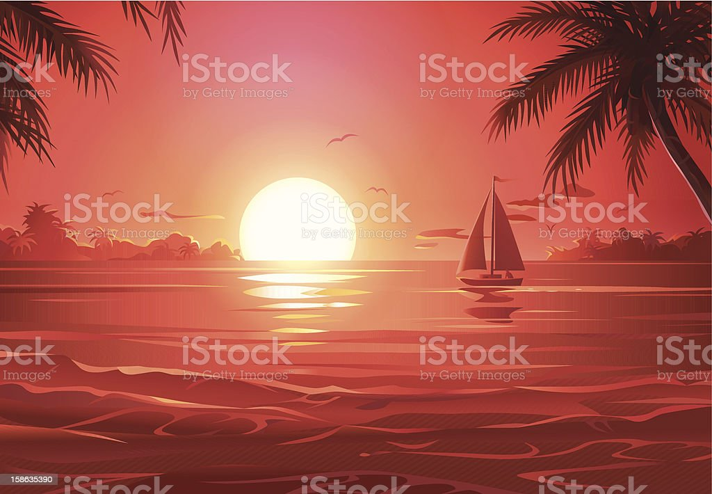 Sunset Sailing vector art illustration