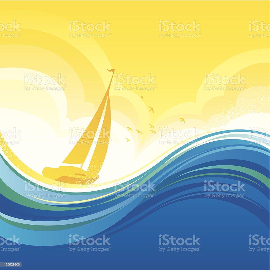 Sunset sailing royalty-free stock vector art