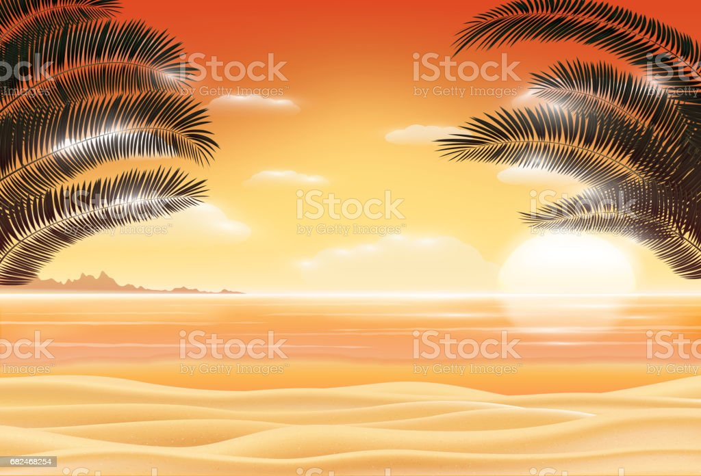 sunset scene on sea sand beach with coconut tree leaf royalty-free sunset scene on sea sand beach with coconut tree leaf stock vector art & more images of backgrounds