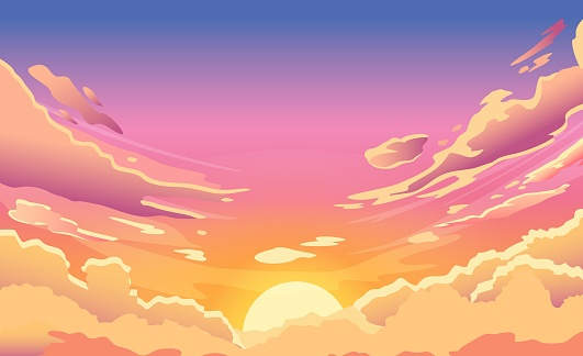 Sunset sky. Cartoon summer sunrise with pink clouds and sunshine, evening cloudy heaven panorama. Morning vector landscape