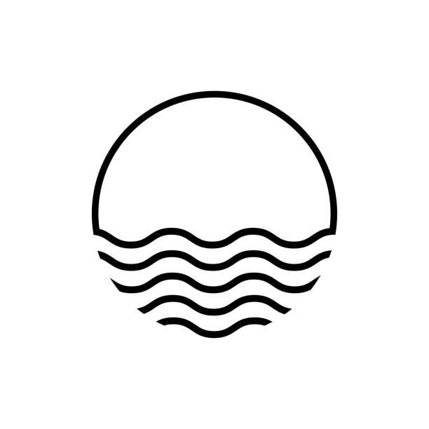 ikona liniowa nieba zachodu słońca. koncepcja wakacji. projektowanie krajobrazu. letnia grafika. logotypu wschodu słońca. izolowany symbol znaku wektora. - zachód słońca stock illustrations