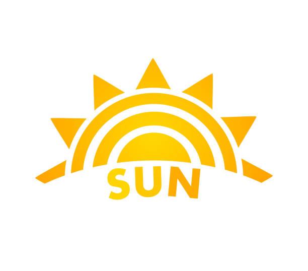 Sunset sun icon. Sunset sun icon. Vector illustration. halved stock illustrations
