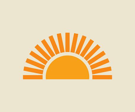 Sunset sun icon.