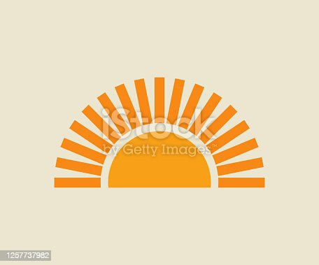 Sunset sun icon. Vector illustration.