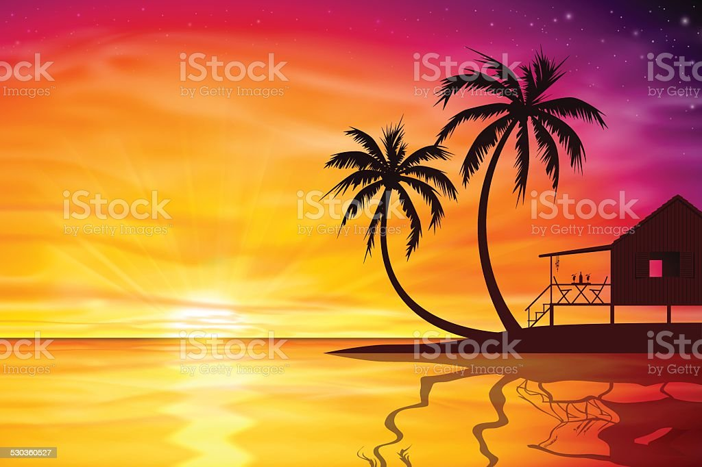 Sunset, Sunrise with Beach Nut vector art illustration