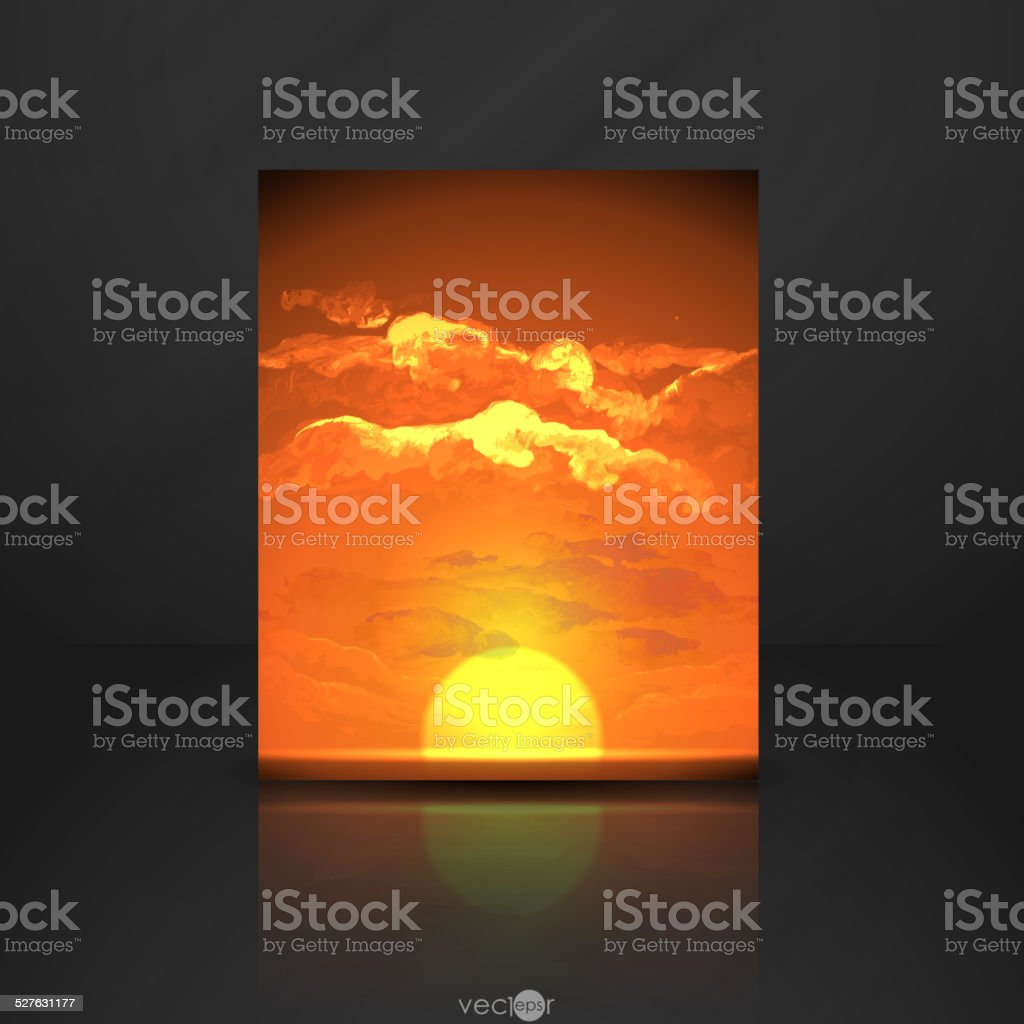 Sunset, Sunrise With Clouds vector art illustration