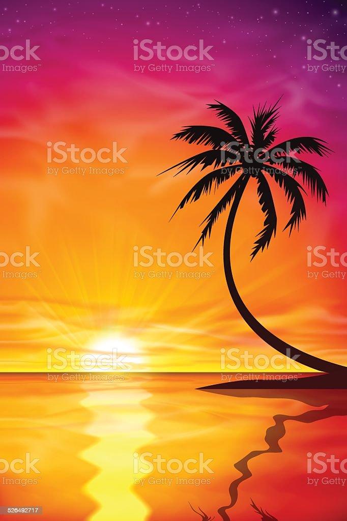 Sunset, Sunrise with Palm Tree vector art illustration