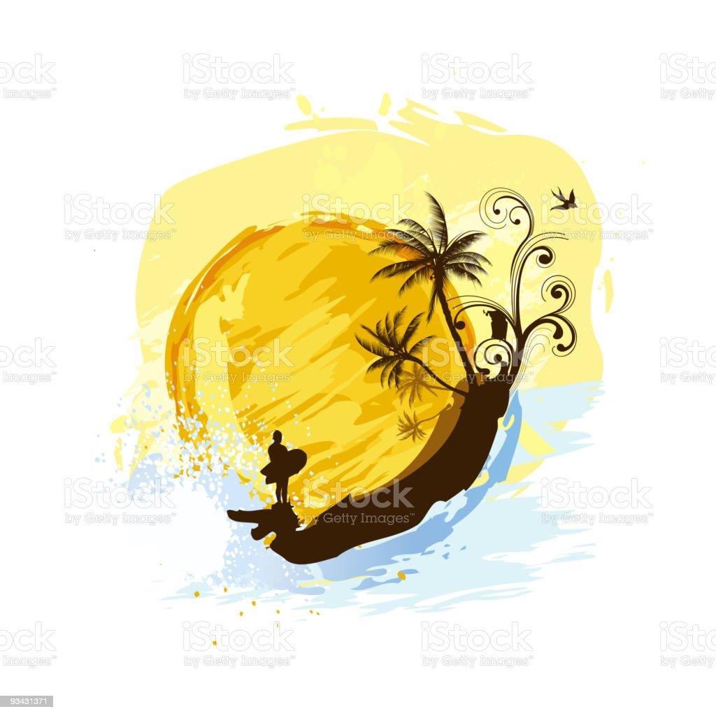 Sunset Surf Vacation vector art illustration