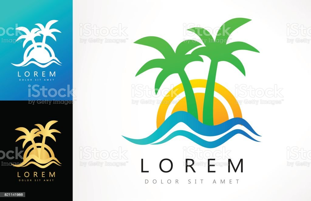 Sunset symbol. Tropical palm with wave. vector art illustration