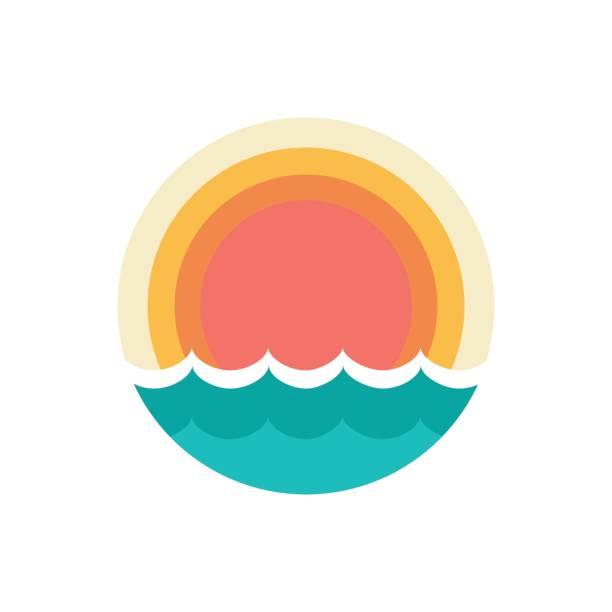 ilustraciones, imágenes clip art, dibujos animados e iconos de stock de símbolo del atardecer - playa