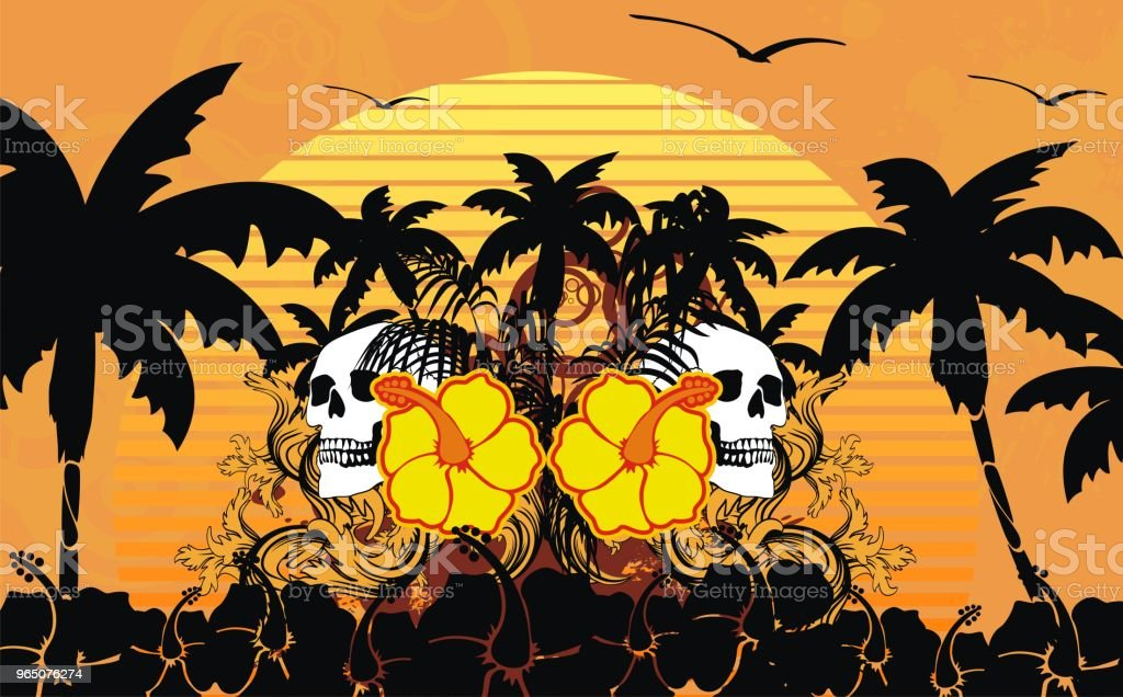 sunset tropic summer hawaiian skull background royalty-free sunset tropic summer hawaiian skull background stock vector art & more images of abstract