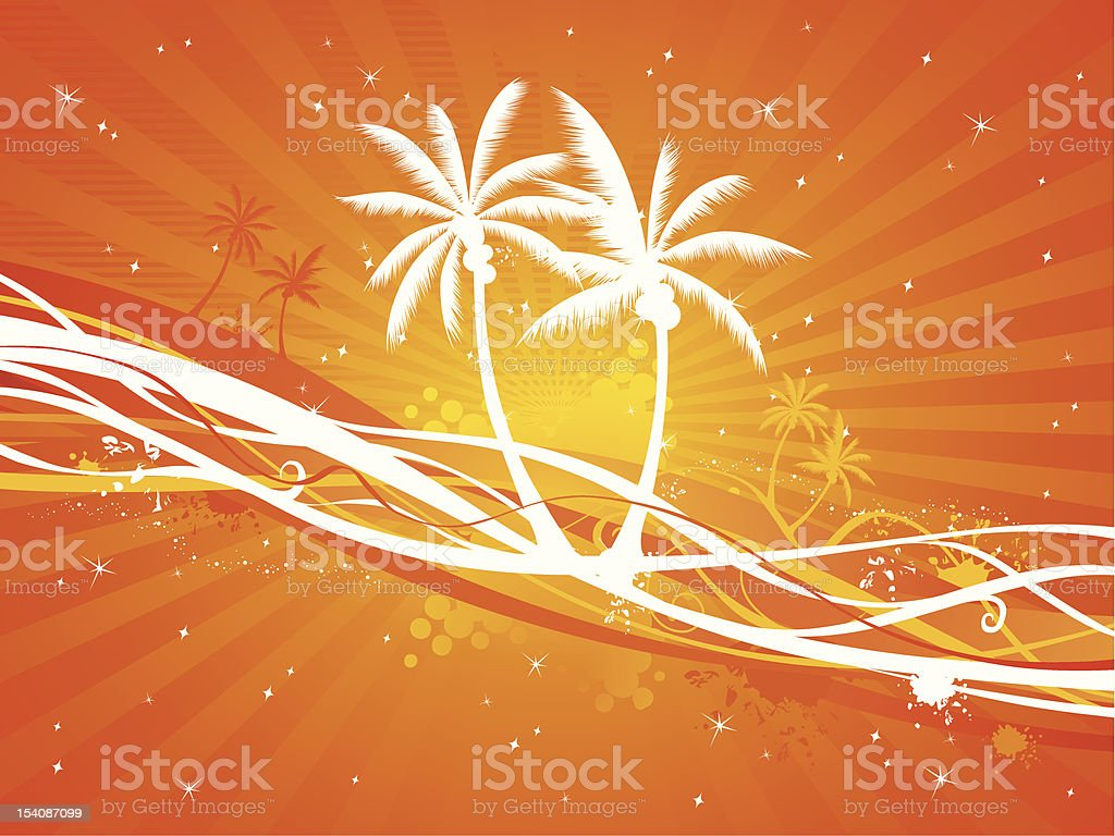 Sunset tropical background royalty-free stock vector art