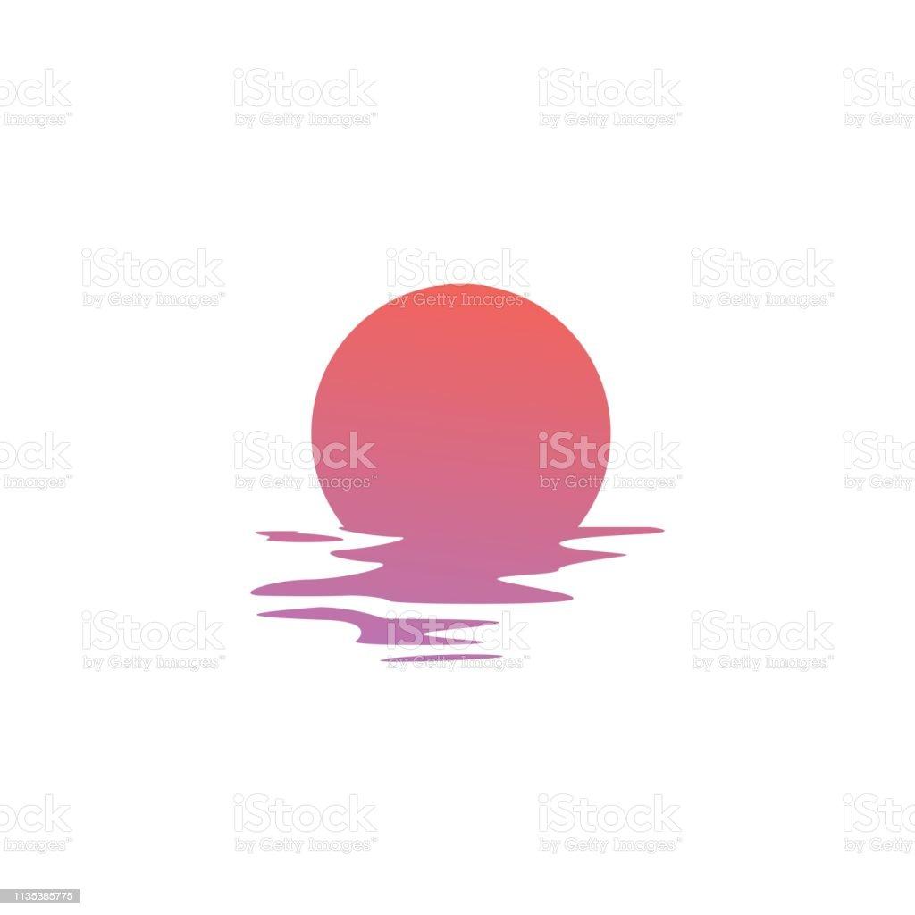 sunset vector icon sea gulf coast illustration - Grafika wektorowa royalty-free (Bez ludzi)