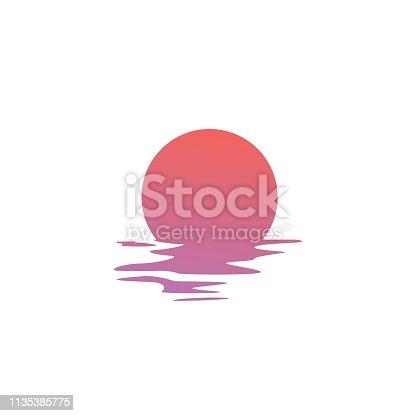 sunset vector icon sea gulf coast illustration