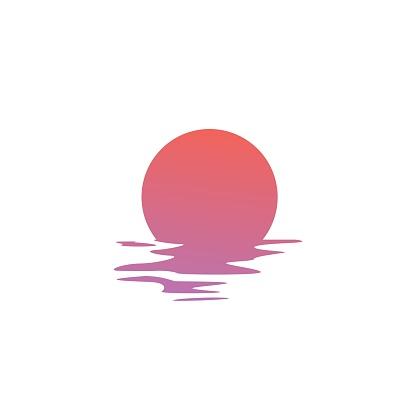Sunset Vector Icon Sea Gulf Coast Illustration - Stockowe grafiki wektorowe i więcej obrazów Bez ludzi