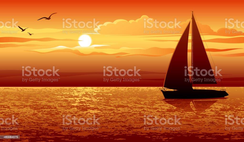 Pôr-do-sol - ilustração de arte em vetor