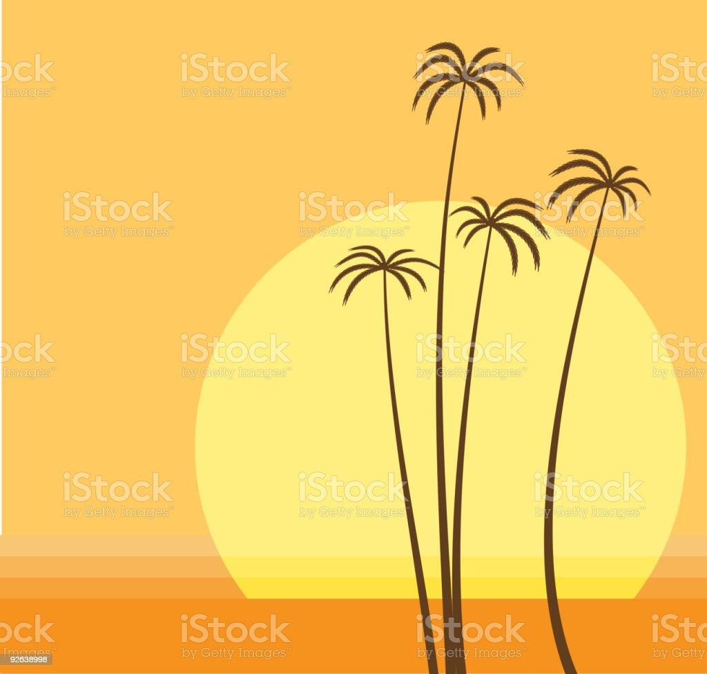 sunset vector art illustration