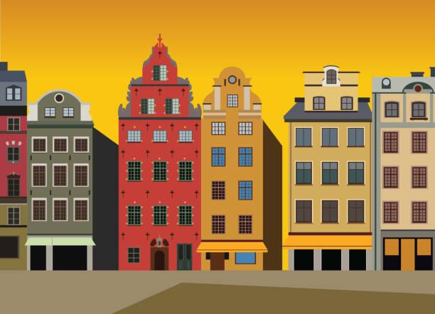 bildbanksillustrationer, clip art samt tecknat material och ikoner med solnedgången av husen på stortorget i gamla stan i stockholm, sverige - stockholm