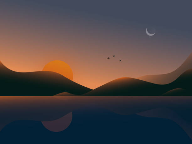 Sunset view Sunset view in very good time dusk stock illustrations