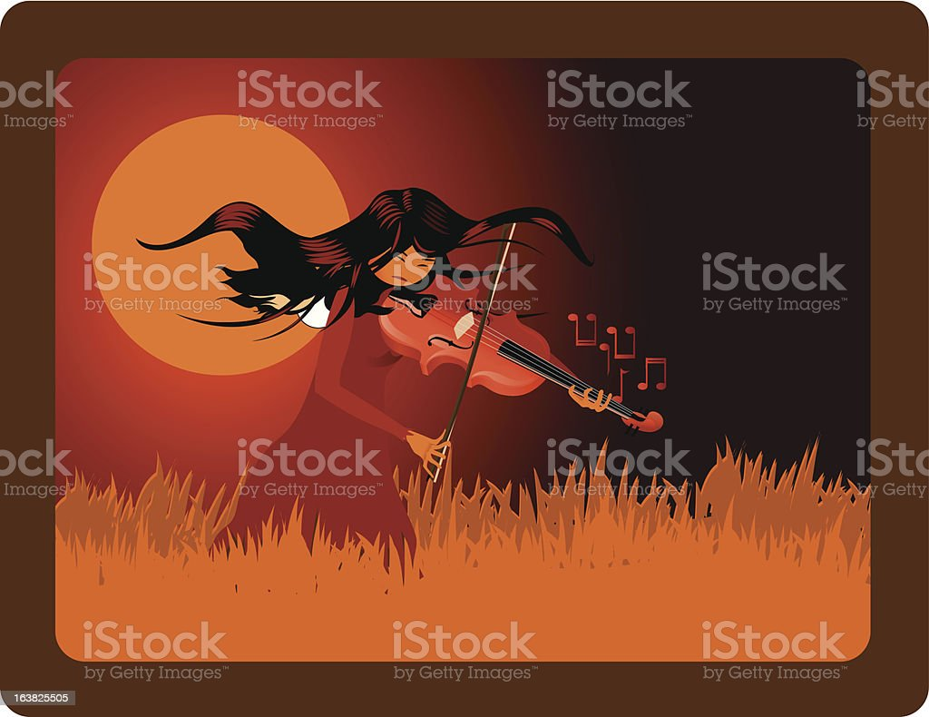 Sunset Violinist vector art illustration