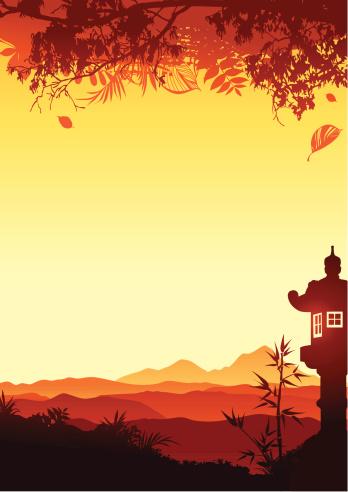 Sunset with japanese lantern