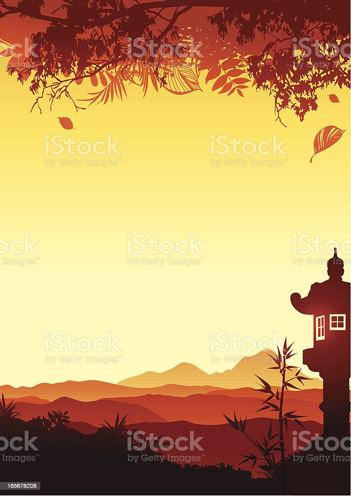 Sunset with japanese lantern vector art illustration