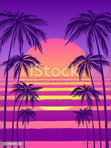 sunset with palm trees, trendy purple background. Vector illustration, design element for congratulation cards, print, banners and others