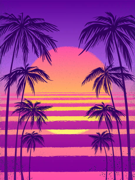 sunset with palm trees, trendy purple background. sunset with palm trees, trendy purple background. Vector illustration, design element for congratulation cards, print, banners and others miami stock illustrations