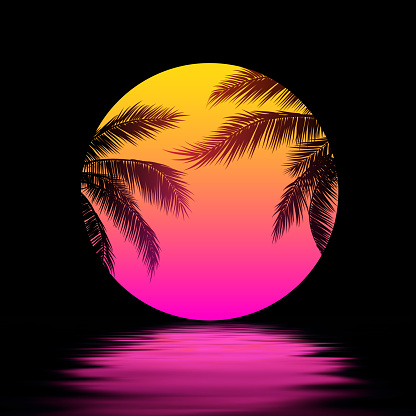 Sunset with Palm Trees, Yellow Pink Sun over the Water. Synthwave Retrowave Art